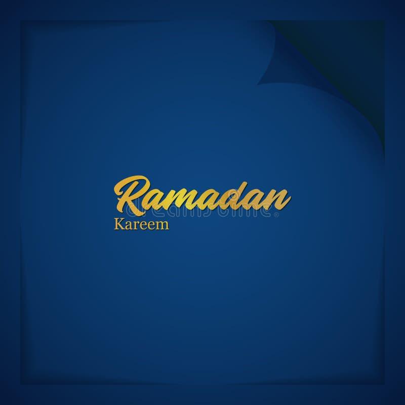 Vektor-Illustrations-Gruß-Karte Ramadan Kareem With Paper Fold Style und Typografie lateinisch stock abbildung