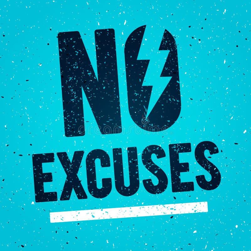 Vektor-Illustrations-Konzept keine Entschuldigungen Eignungs-Turnhallen-Muskel-Training Anspornungs-und Motivations-Zitat-Plakat  stock abbildung