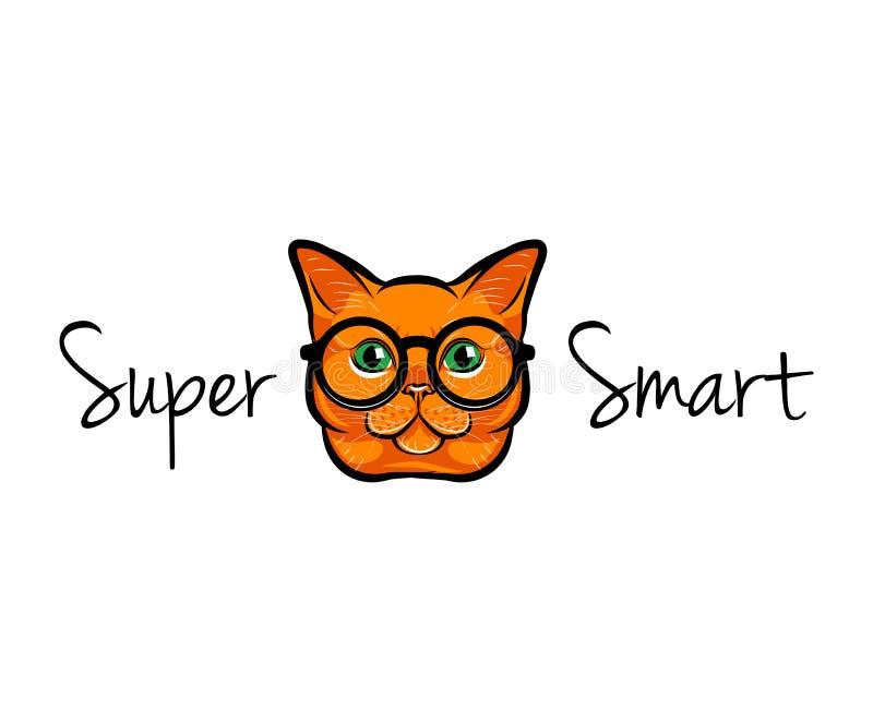Vektor-Illustrations-Porträt der intelligenten roten Katze Katze in den Gläsern Katzenaussenseiter Auch im corel abgehobenen Betr stock abbildung