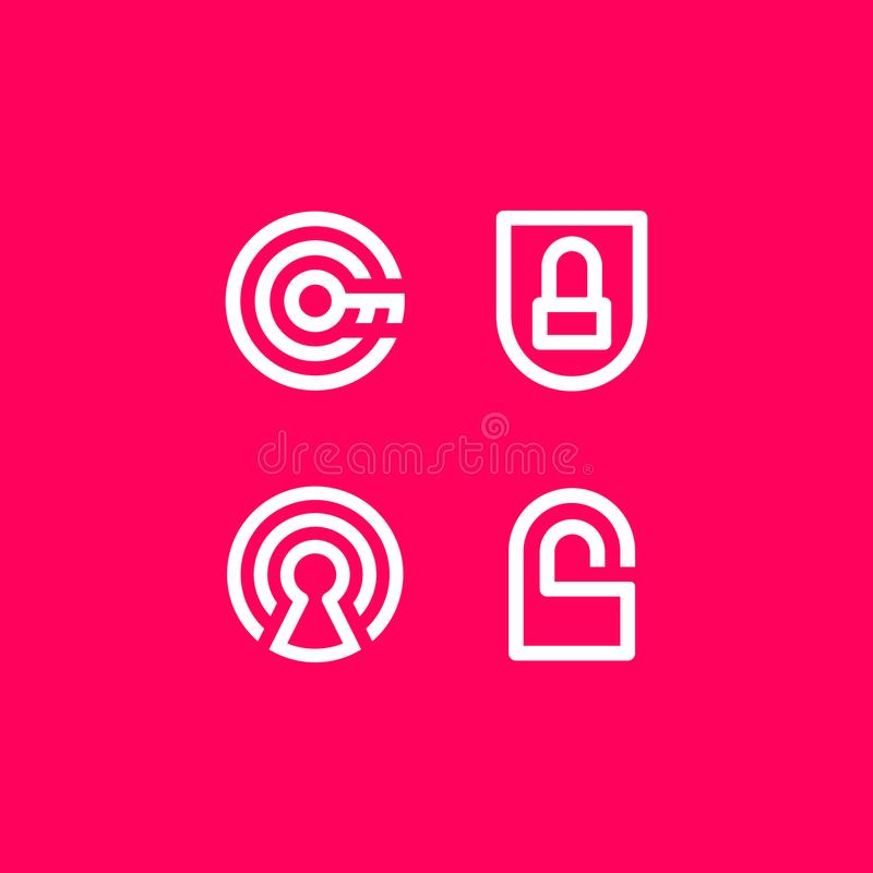 Vektor-Illustrations-Sicherheits-Sicherheits-Ikonen-Logo lizenzfreie abbildung