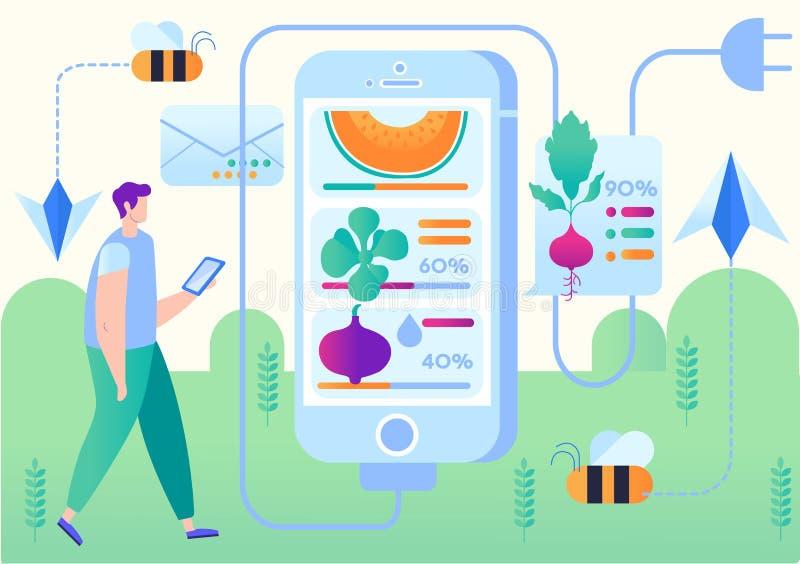 Vektor-Illustrations-Smart-Bauernhof-bewegliche Anwendung vektor abbildung