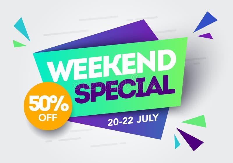Vektor-Illustrations-Wochenenden-Sonderverkauf-Fahnen-Schablone im flachen modischen geometrischen Stil Retro- Papierart-Plakat-E stock abbildung