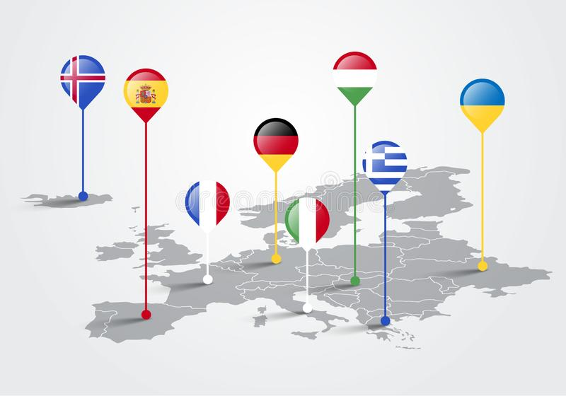 Vektor-Illustrationseuropa-Karte infographic für Diapräsentation Marketing-Konzept des globalen Gesch?fts lizenzfreie abbildung