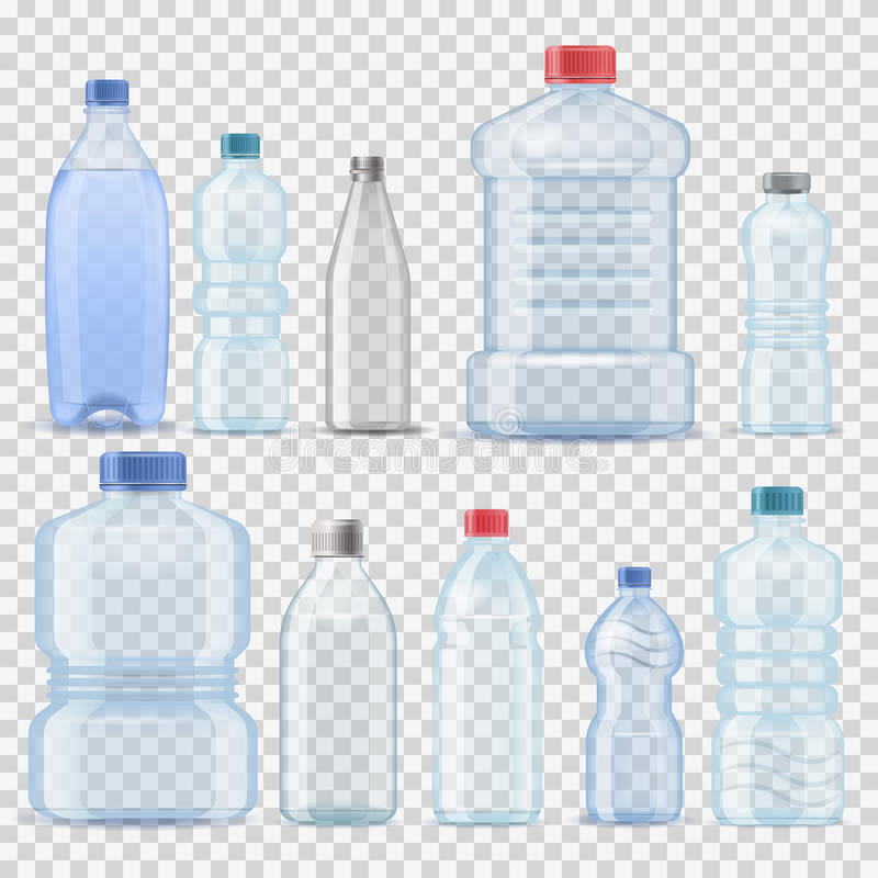 Vektor-Illustrationsfirma der transparenten Behälterfassgallonenplastikschablone der Flasche 3d des Wassers sauberen realistische lizenzfreie abbildung