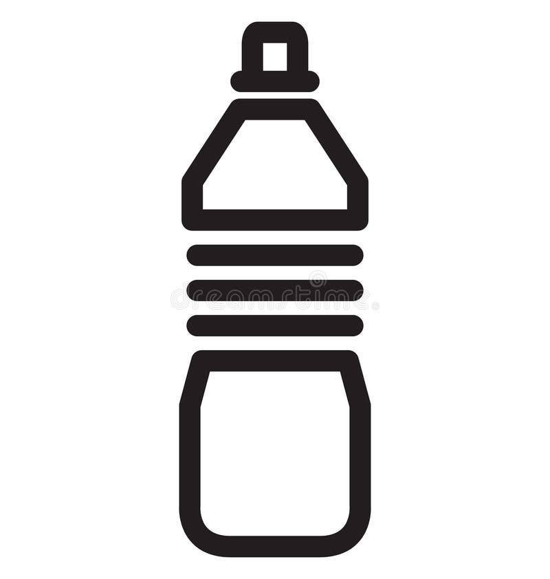 Vektor-Illustrationsikone der Wasser-Flaschen-einzelnen Zeile lizenzfreie abbildung