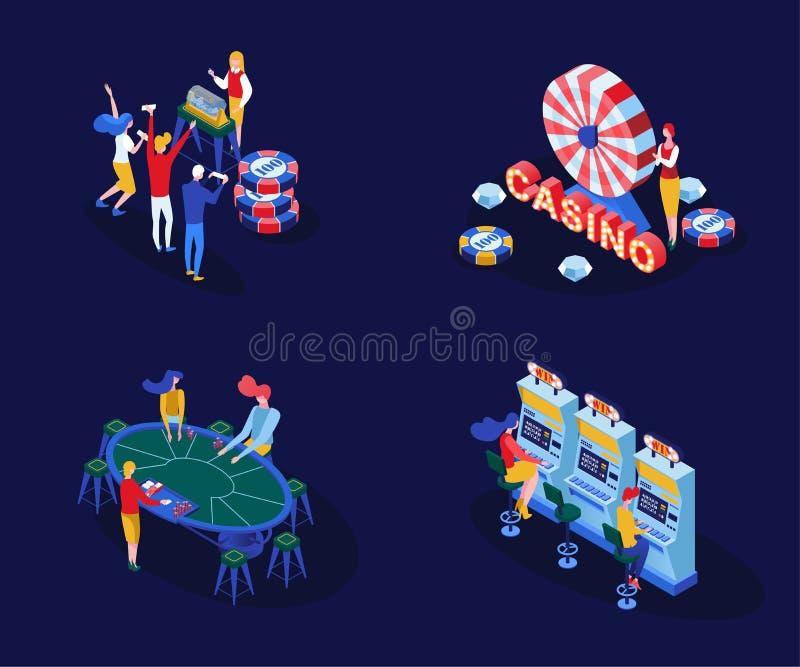 Vektor-Illustrationssatz der Kasinospiele isometrischer Der Mann und weibliche Spieler, die Schürhaken, BlackjackKartenspiele spi lizenzfreie abbildung