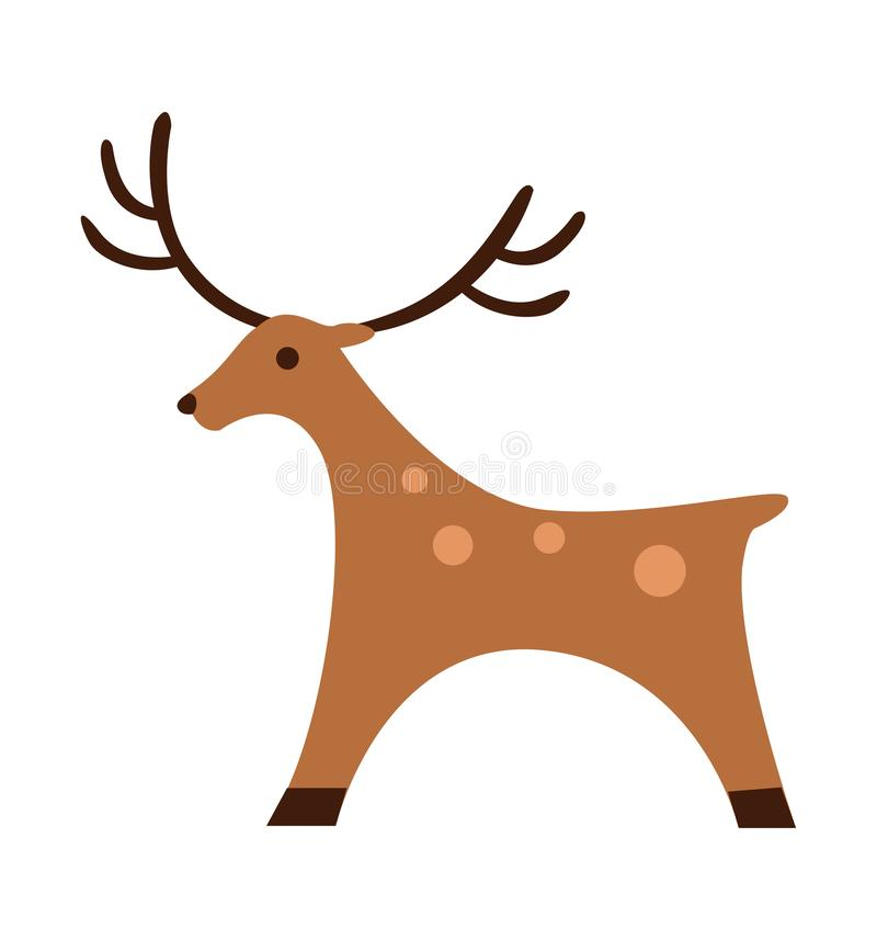Vektor-Illustrationsschattenbild des Rotwildikonenspielzeugs flaches christmasisolated auf Weiß stock abbildung
