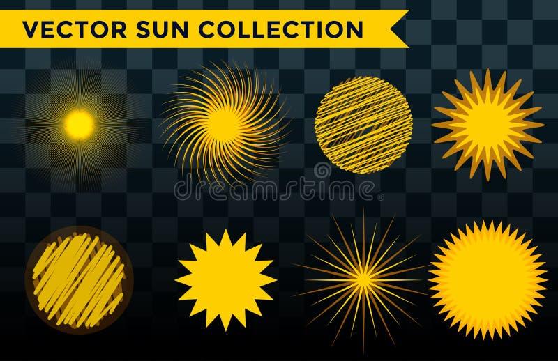 Vektor-Illustrationssommer der Sun-Explosionssternikone lokalisierte gesetzter das sonnige Naturglanzsonnenlichtsonnenstrahlfunke stock abbildung