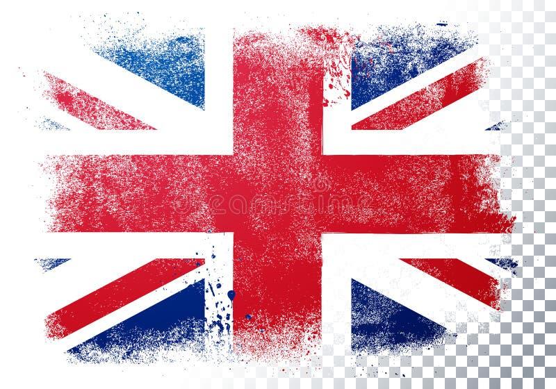 Vektor-Illustrationsweinleseschmutz-Beschaffenheitsflagge von Großbritannien lizenzfreie abbildung