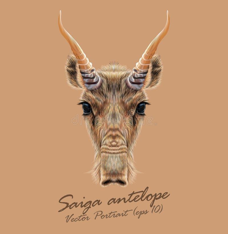 Vektor illustrerad stående av Saiga antilop stock illustrationer