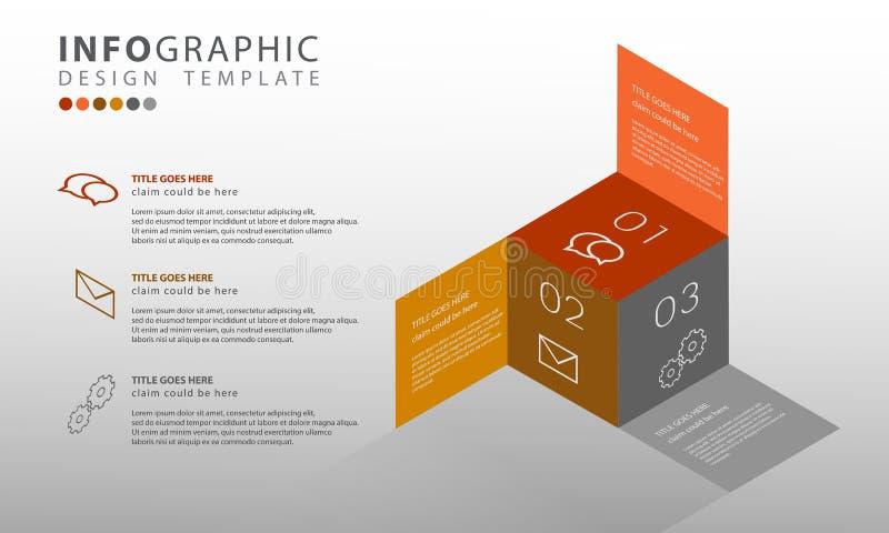 Vektor infographic, abstrakte Schablone infographics Illustration des Geschäfts 3D mit 3 Wahlen für Darstellungen lizenzfreie abbildung