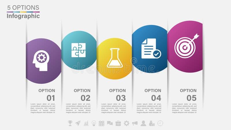 Vektor Infographic-Aufkleberdesign mit Ikonen und 5 Wahlen oder Schritte lizenzfreie abbildung