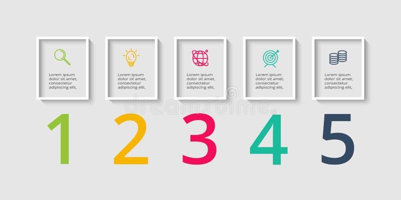 Vektor Infographic-Aufkleberdesign mit Ikonen und 5 Wahlen oder Schritte Infographics für Geschäftskonzept für Darstellungen stock abbildung