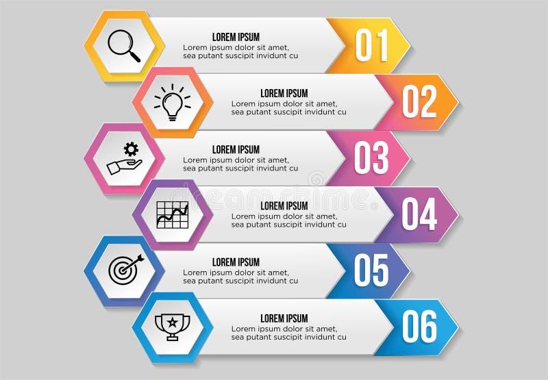 Vektor Infographic-Entwurfs-Schablone mit Wahl-Schritten und vermarktenden Ikonen kann f?r Informationsdiagramm, Darstellungen, P lizenzfreie abbildung