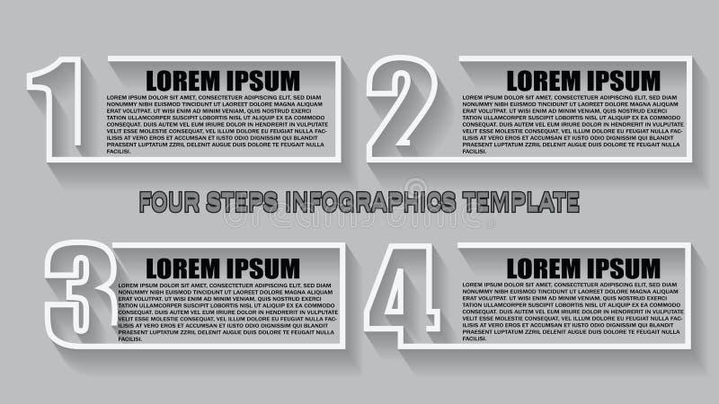 Vektor Infographic-Entwurfsschablone mit 4 Wahlen oder Schritten Kann für Prozessdiagramm, Darstellungen, Arbeitsflussplan, banne vektor abbildung