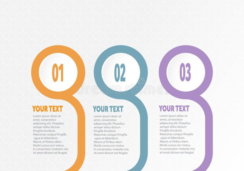 Vektor-infographic Geschäft für Zeitachse mit 3 Schritten beschriftet Kreisring mit Steigungsfarbe für jeden Schritt lizenzfreie abbildung