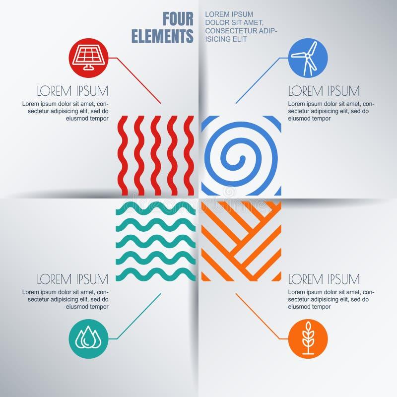 Vektor infographics Design Vier Elemente extrahieren Illustration stock abbildung