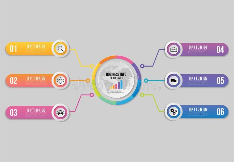 Vektor Infographics-Element-Schablonen-Entwurf mit 6 Trankschritten Sichtbarmachungs-Zeitachse der kommerziellen Daten mit Market vektor abbildung