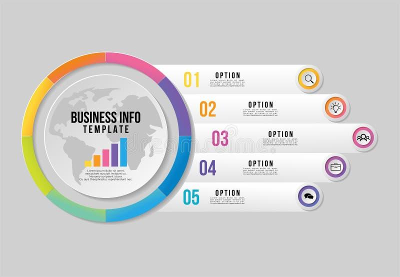 Vektor Infographics-Element-Schablonen-Entwurf mit Wahlschritten Sichtbarmachungs-Zeitachse der kommerziellen Daten mit Marketing lizenzfreie abbildung
