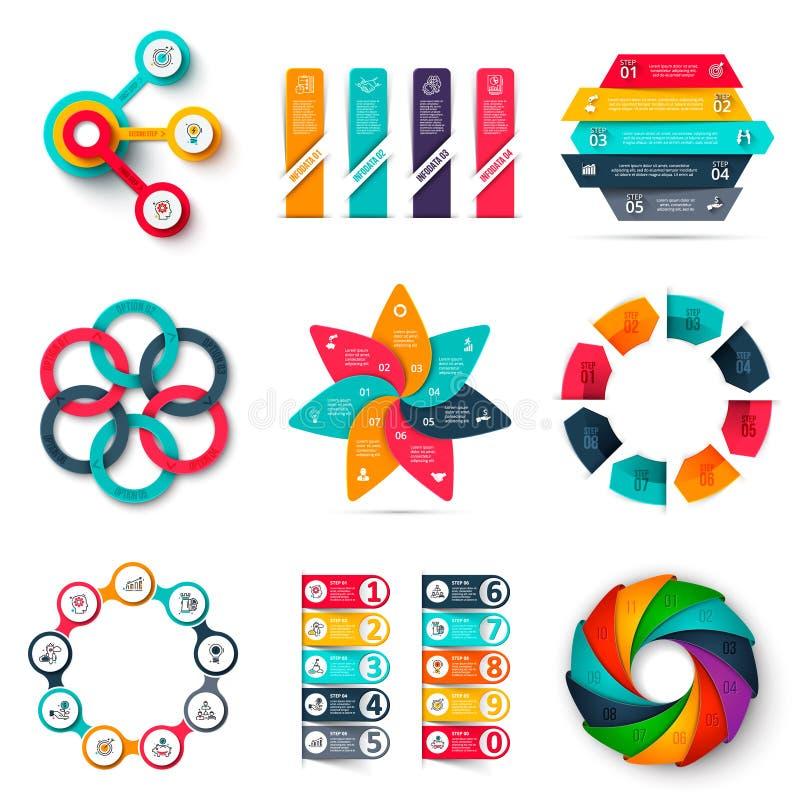 Vektor infographics Entwurfs-Schablonensatz Geschäftskonzept mit 3, 4, 5, 6, 7, 8, 9 und 10 Wahlen, Teile, Schritte oder lizenzfreie abbildung