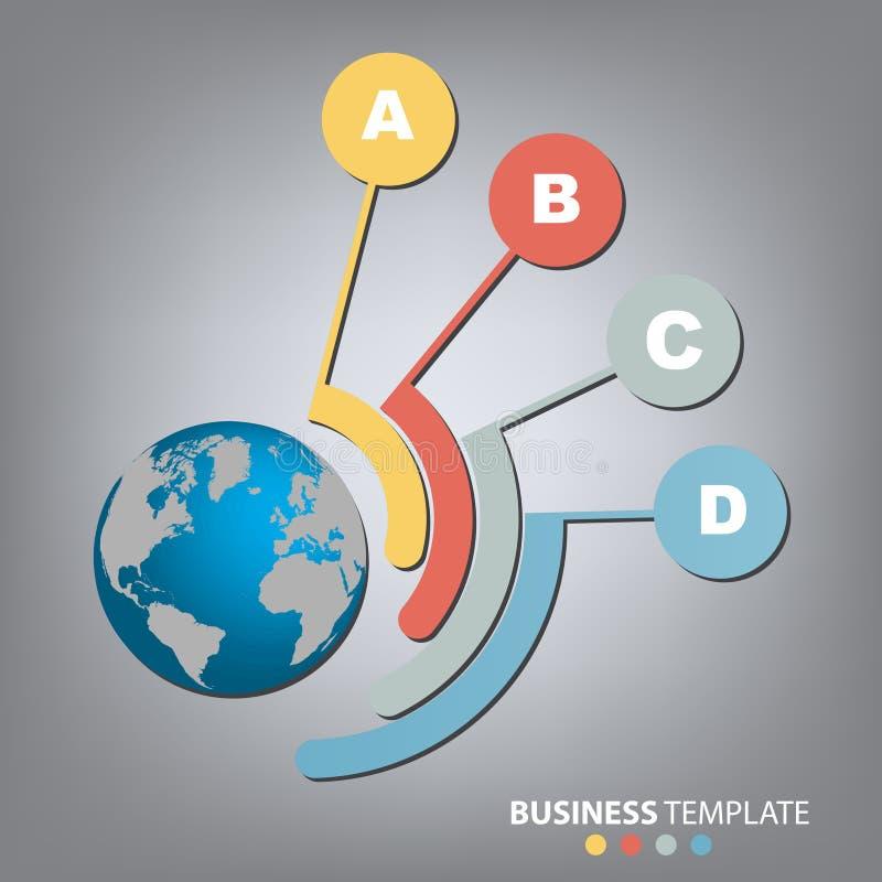 Vektor infographics globale Schablone für 4 Wahlen Kann für Arbeitsflussplan, Fahne, Diagramm, Webdesign, infographic templ verwe stock abbildung