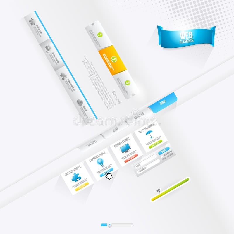Vektor Infographics und Webdesign-Elemente, Knöpfe und Aufkleber vektor abbildung