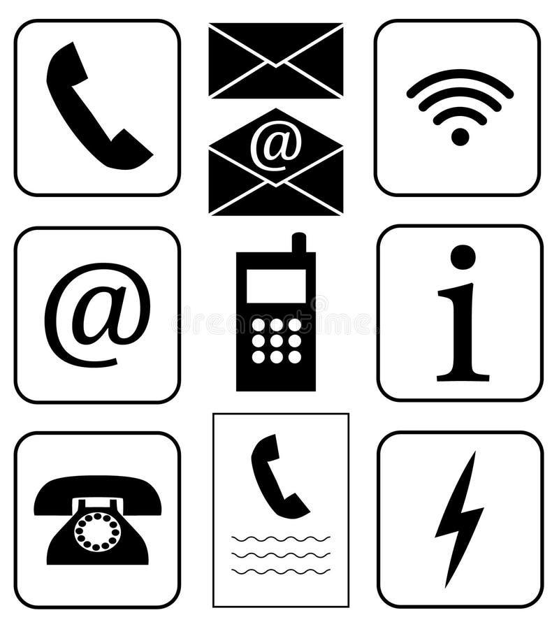 vektor inställda symboler Offentligt tecken Kommunikation och information Telekommunikationsymboler Telefon wifi, information, po royaltyfri illustrationer
