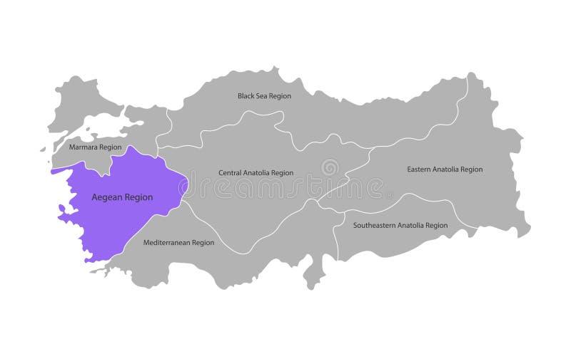 Vektor isolerad f?renklad ?versikt av Turkiet regioner Tydlig Aegean region r stock illustrationer
