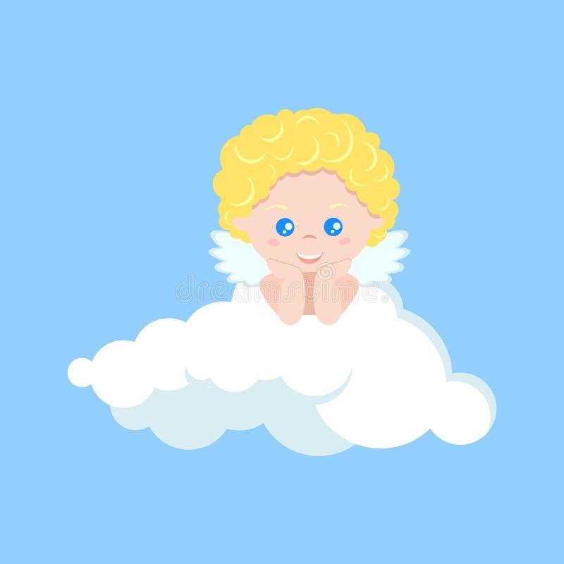 Vektor isolerad gullig kupidonpojke som drömmer på moln i plan tecknad filmstil royaltyfri illustrationer