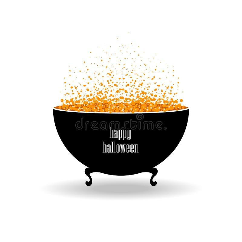 Vektor isolerad halloween svartkruka med orange dryck och bubbl stock illustrationer