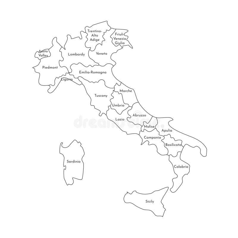 Vektor isolerad illustration av den förenklade administrativa översikten av Italien Gränser och namn av regionerna Svart linje ko stock illustrationer