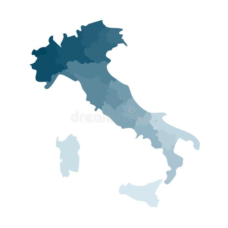 Vektor isolerad illustration av den förenklade administrativa översikten av Italien Gränser av regionerna Färgrika blåa kaki- kon stock illustrationer
