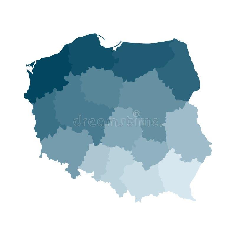 Vektor isolerad illustration av den förenklade administrativa översikten av Polen Gränser av regionerna Färgrika blåa kaki- kontu vektor illustrationer