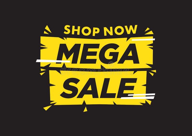 Vektor isolerad illustration av en typografifas mega Sale mot svart bakgrund stock illustrationer