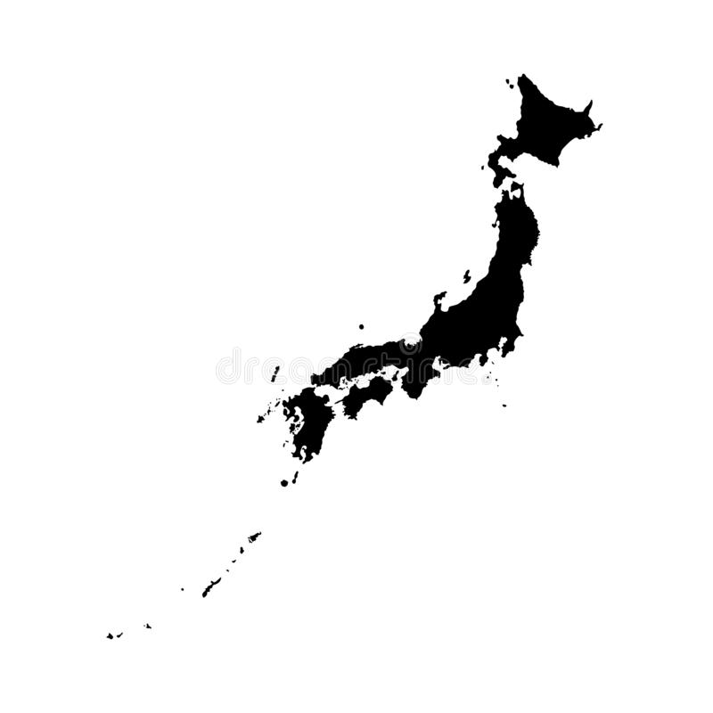 Vektor isolerad illustrationsymbol med den förenklade översikten av Japan svart silhouette vektor illustrationer