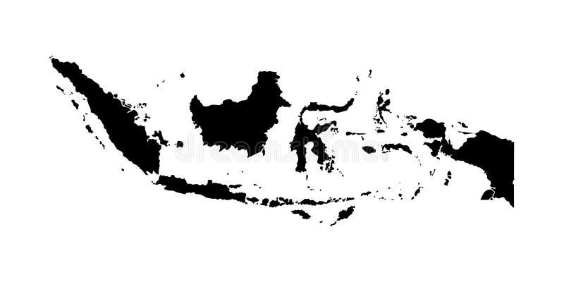 Vektor isolerad illustrationsymbol med den förenklade översikten av republiken av Indonesien stock illustrationer