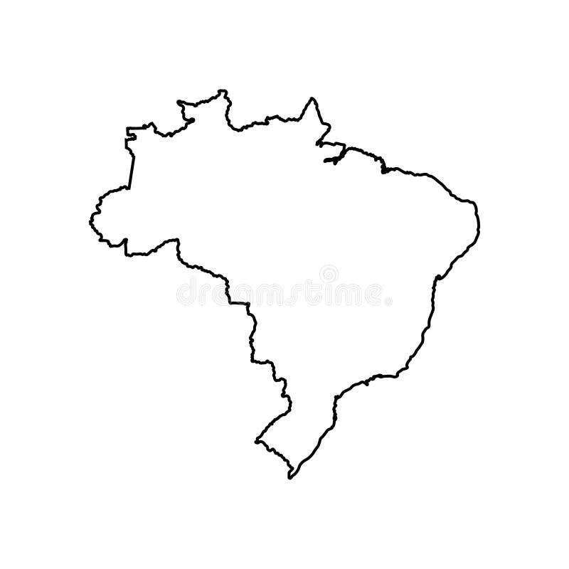 Vektor isolerad illustrationsymbol med den svarta linjen kontur av den förenklade översikten av Brasilien vektor illustrationer