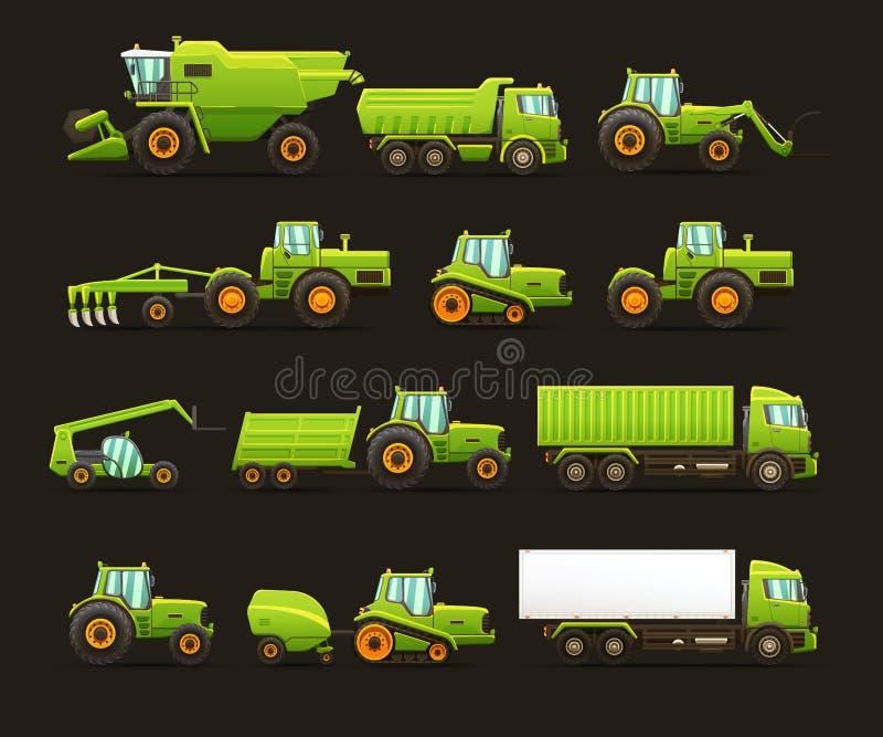 Vektor isolerad illustrationuppsättning av jordbruks- maskineri stock illustrationer