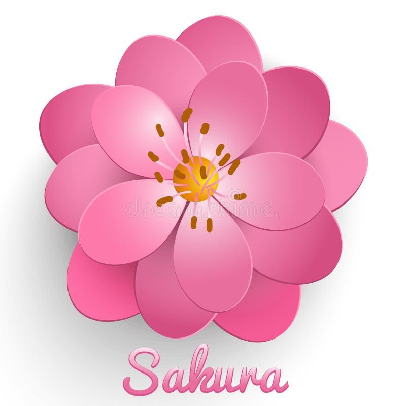 Vektor isolerad papperssnittsakura blomma Blom- volymetrisk sammansättning royaltyfri illustrationer
