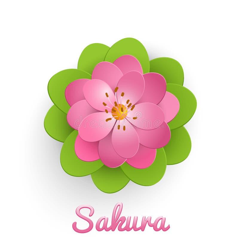 Vektor isolerad papperssnittsakura blomma med gröna sidor Blom- volymetrisk sammansättning stock illustrationer
