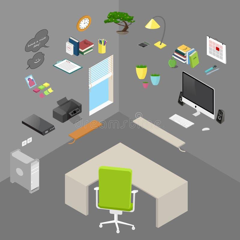 Vektor isolerat isometriskt kontorsobjekt och möblemang royaltyfri illustrationer