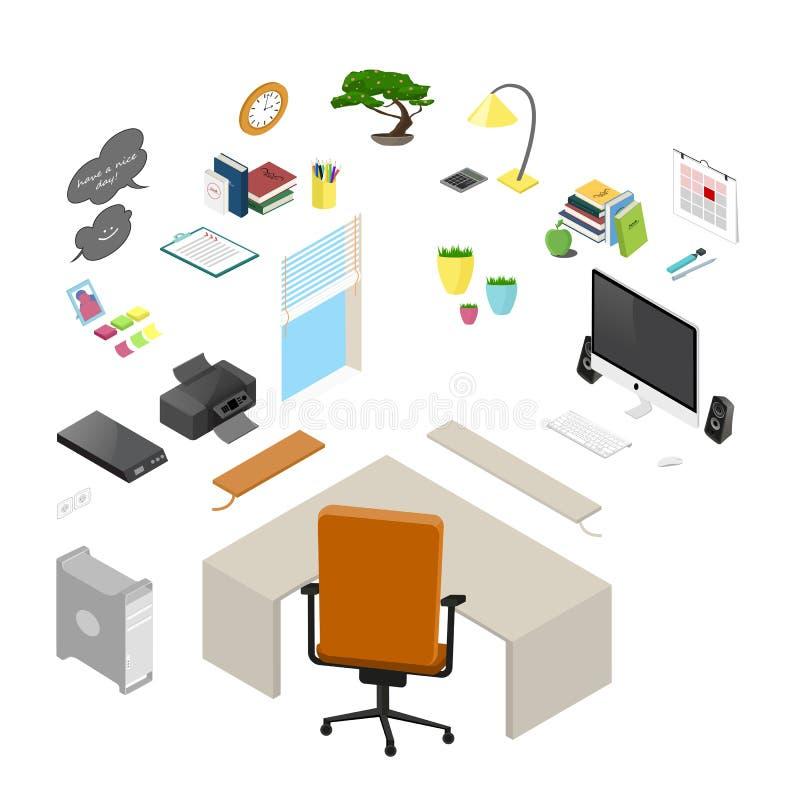 Vektor isolerat isometriskt kontorsobjekt och möblemang detaljerat stock illustrationer