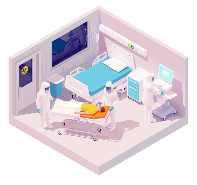 Vektor-isometrische Hospitalisierung mit Coronavirus stock abbildung