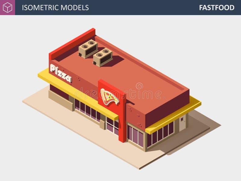 Vektor-isometrischer Schnellimbiß oder Pizzerie-Gebäude mit Verkaufs-Zeichen-Brett stock abbildung
