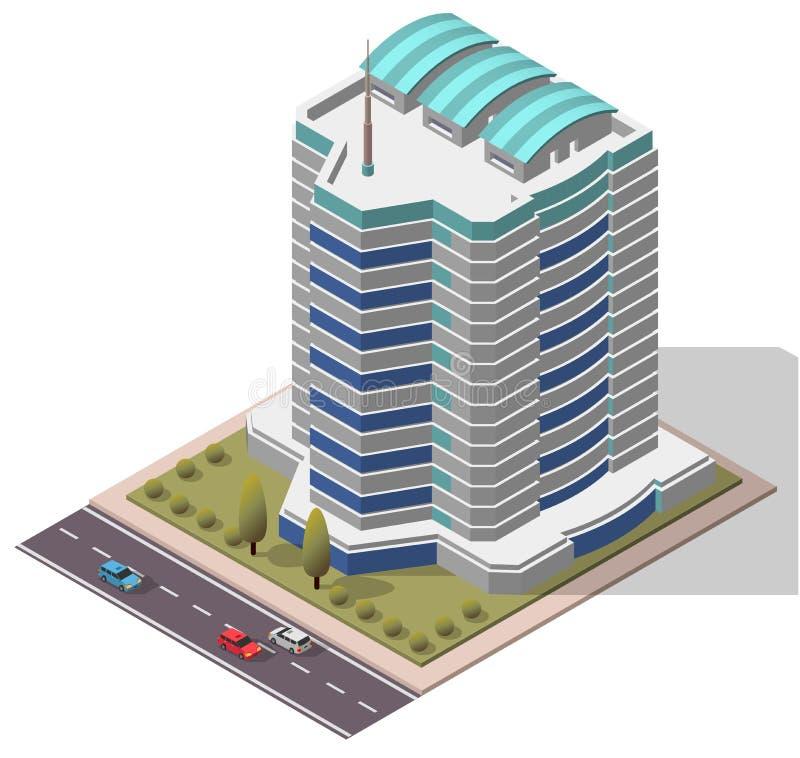 Vektor-isometrisches Büro-Arbeitsplatz-Gebäude lizenzfreie abbildung
