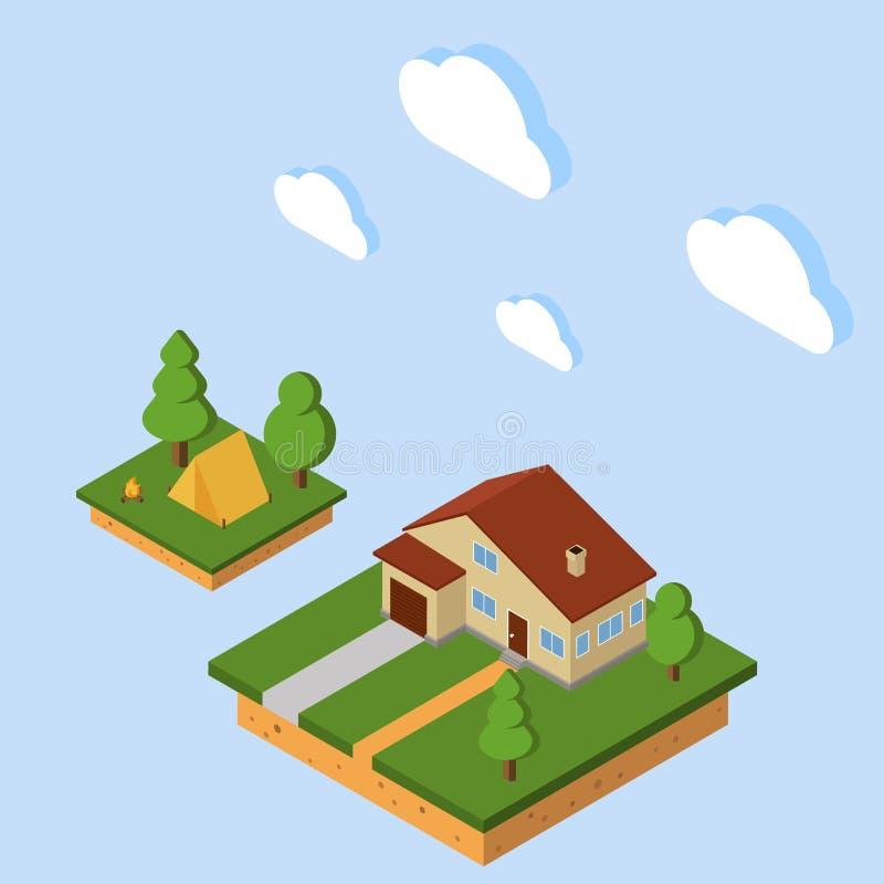 Vektor-isometrisches ländliches Haus Flache Art isometrisches Kampieren 3d mit Zelt und Feuer lizenzfreie abbildung
