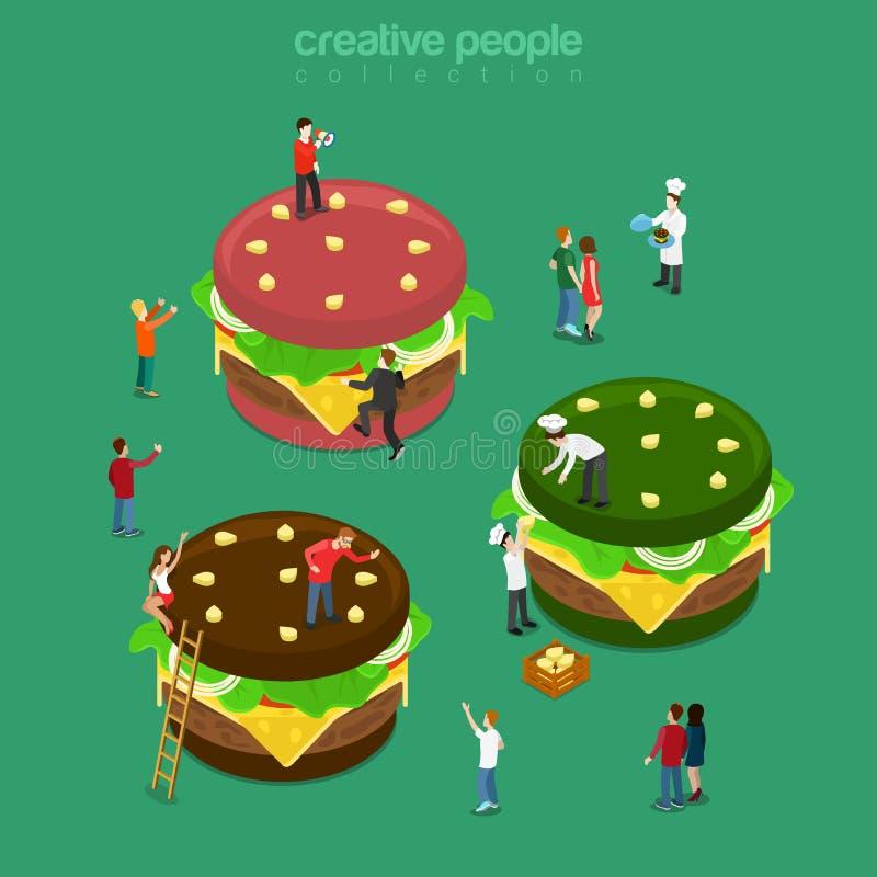 Vektor isometrisk 3d för lägenhet för kafé för hamburgare för färghamburgaremikrokock royaltyfri illustrationer