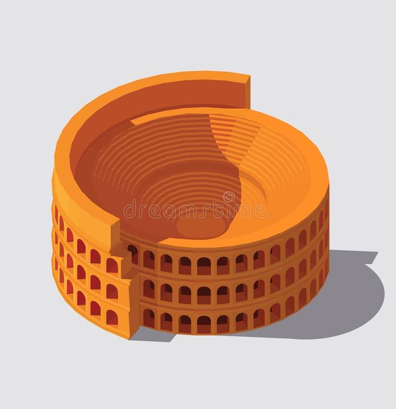 Vektor isometriska Colosseum stock illustrationer