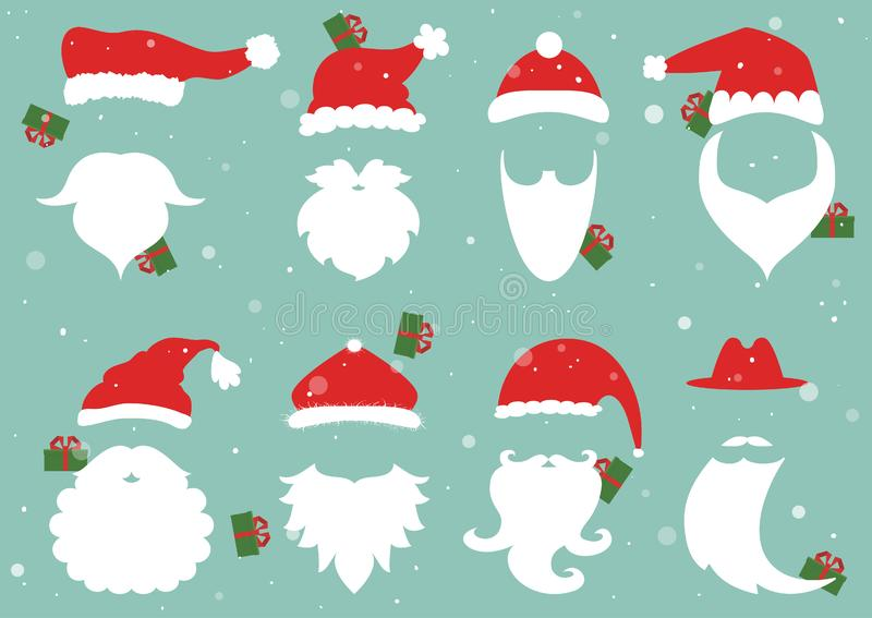 vektor Jultomtenhattar, mustasch och skägg Julbeståndsdelar för vektor illustrationer