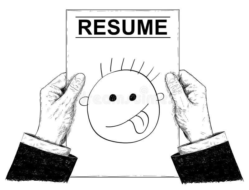 Vektor-künstlerische Illustration oder Zeichnung von Händen des Geschäftsmann-Holding Resume With-Karikatur-Gesichtes stock abbildung